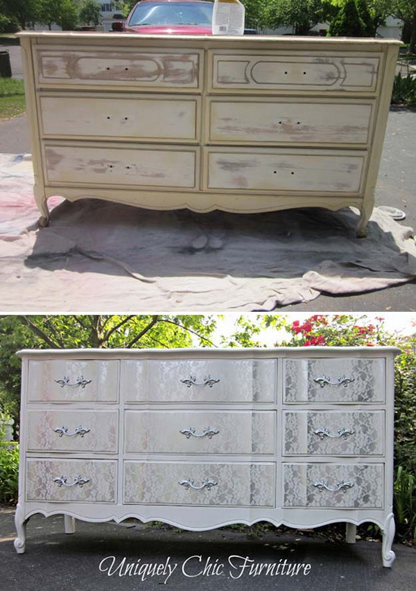 Lacey Dresser Makeover. Turn the old dresser shabby chic with some lace and paint.