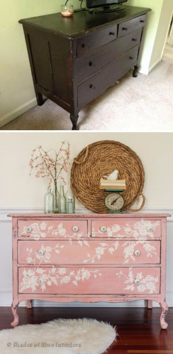 Pink Floral Dresser Makeover. Pink floral dresser made from a white chippy dresser!