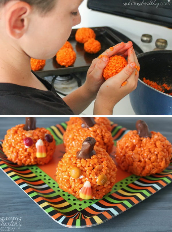 Easy Pumpkin Krispies Treats.