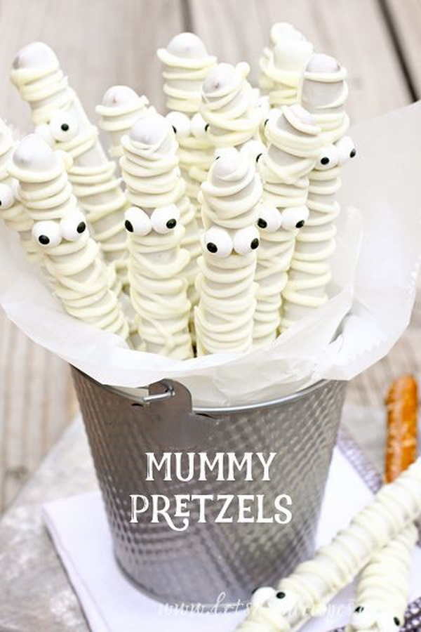 White Chocolate Mummy Pretzels.