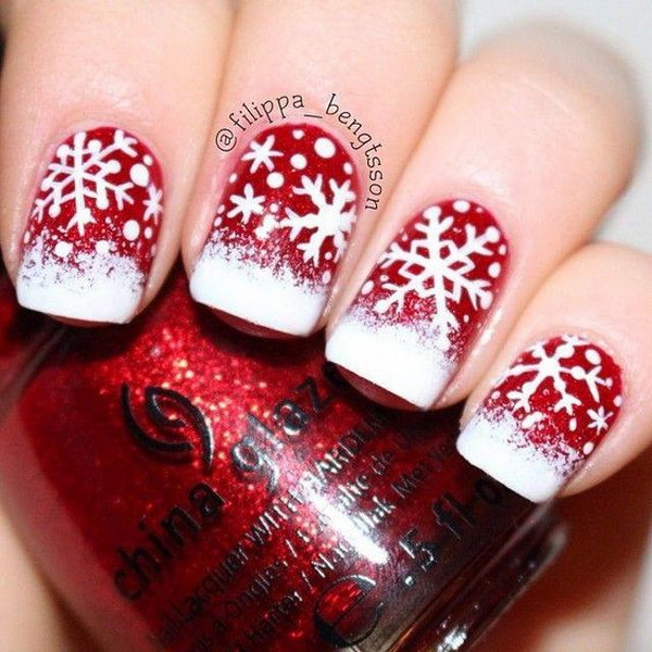 Red and White Snowflake Nail Art for Christmas.