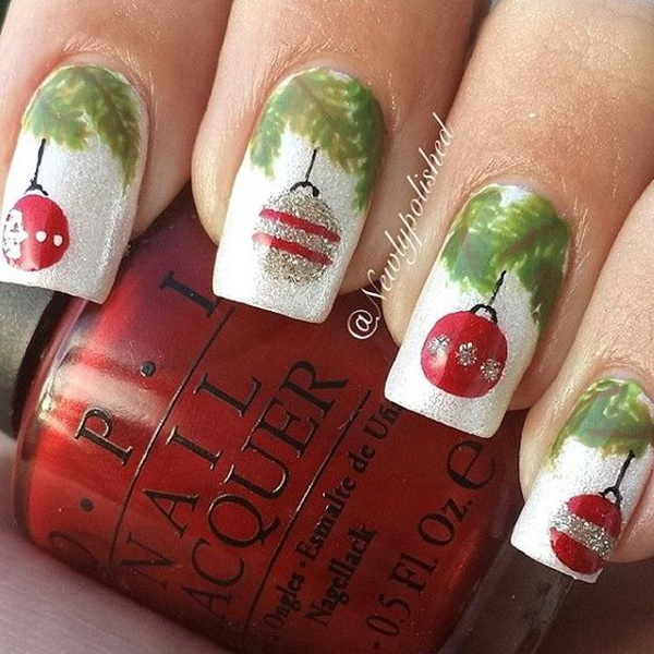 Christmas Baubles Nail Art Design - 70+ Festive Christmas Nail Art Ideas - For Creative Juice