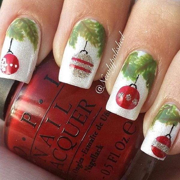 Christmas Baubles Nail Art Design