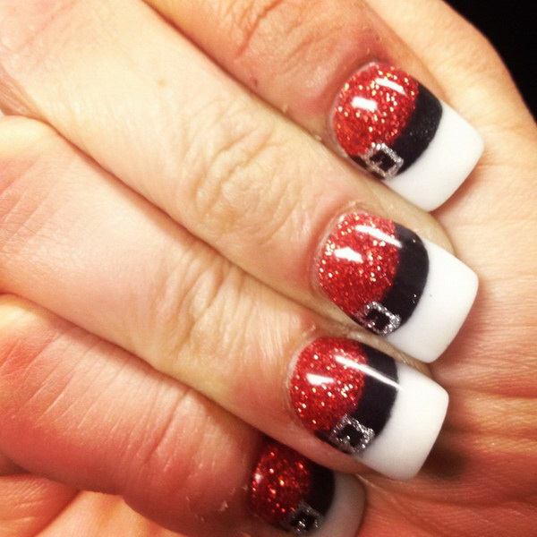 Christmas Snata Nail Art with Glittering - 70+ Festive Christmas Nail Art Ideas - For Creative Juice