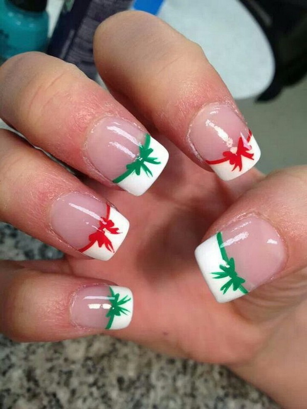 White Tipped French Manicure with Bows.