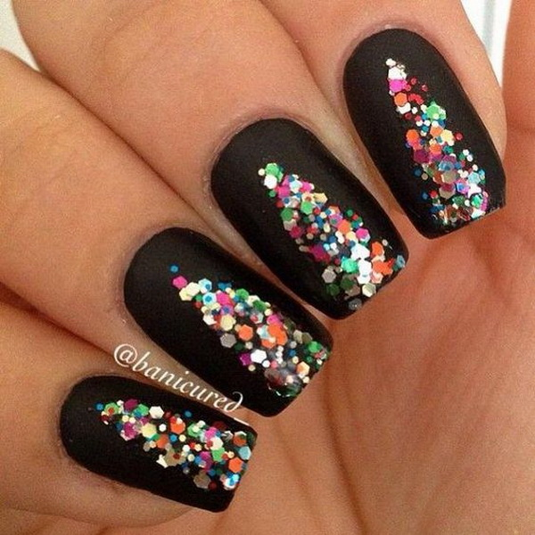 Colorful Sequins Christmas Tree on Black Nail Design.