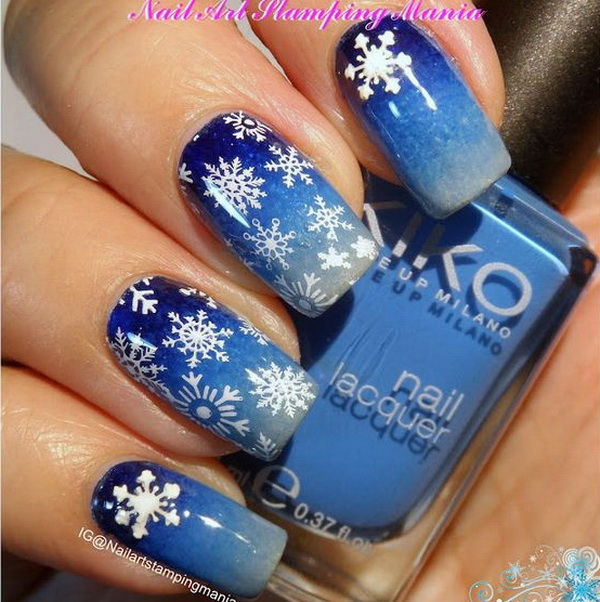 Snowflakes Manicure with Christmas Nail Art.