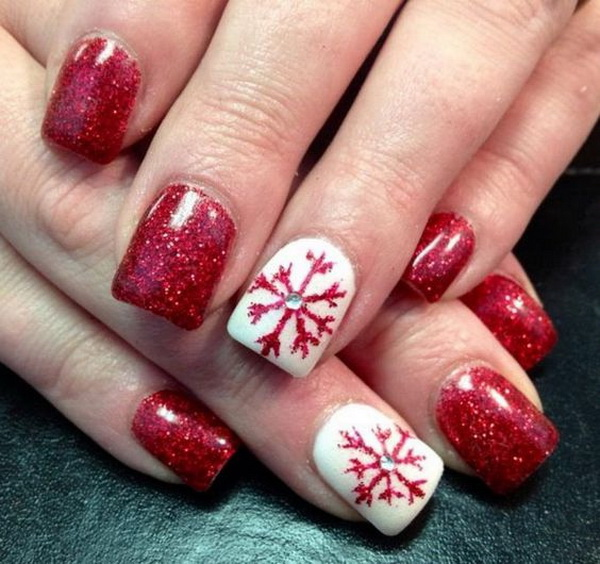 Red and White Festive Acrylic Nails - 70+ Festive Christmas Nail Art Ideas - For Creative Juice