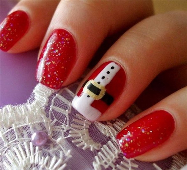 Santa Clause Manicure Design for Christmas.