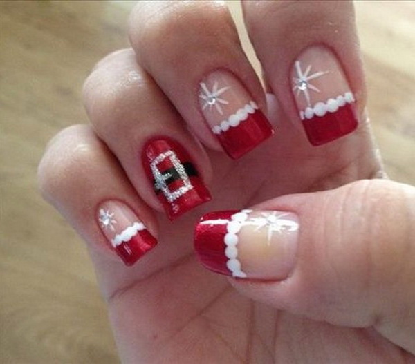 cute santa christmas nail design - Christmas Nail Decorations