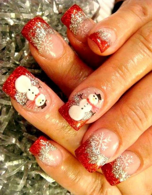 70 festive christmas nail art ideas for creative juice snowman christmas nail art design prinsesfo Images