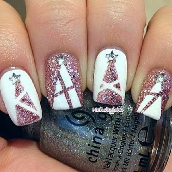 pink glittery christmas tree nail designs - Christmas Nail Decorations