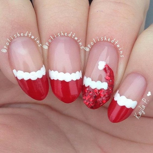 Santa's Hat Nail Art Design for Christmas Holidays.