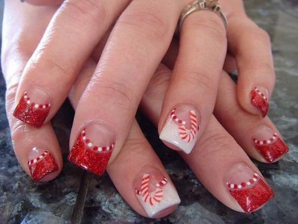 Candy Cane Christmas Nail Art Designs.