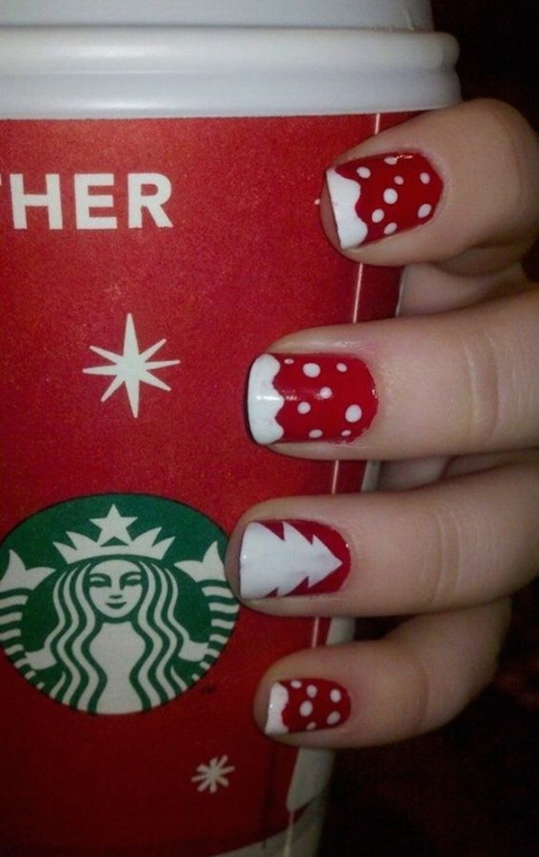 White Dotted on Red Nail Base Christmas Manicure.
