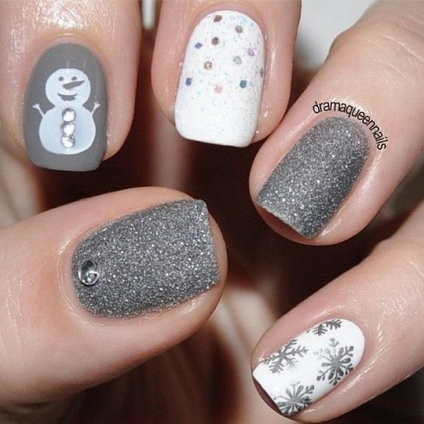 70 festive christmas nail art ideas for creative juice white and silver themed christmas nail art prinsesfo Images
