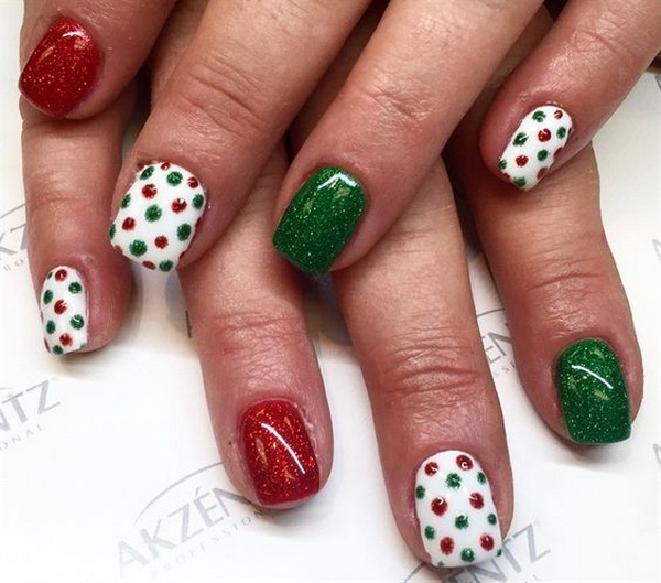 Green, Red White Dotted Holiday Nail Art - 70+ Festive Christmas Nail Art Ideas - For Creative Juice
