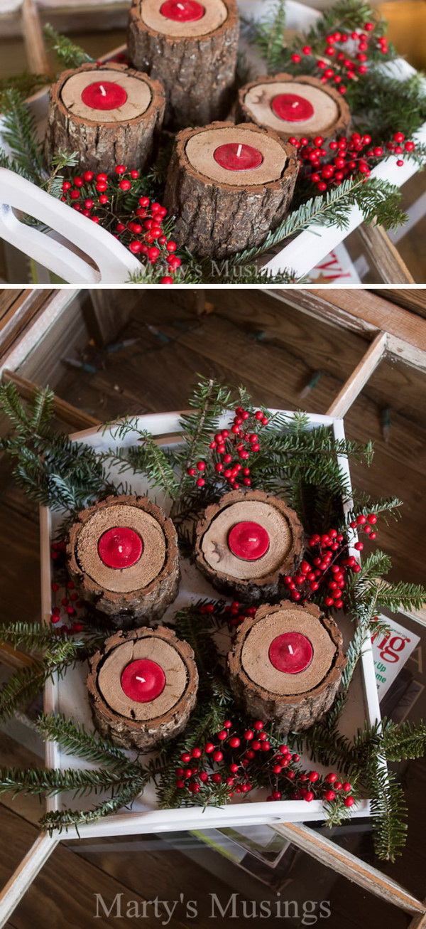 Rustic Wood Candle Holders. Drill holes in small logs and add tealight candles inside. You will have this perfect addition to your Christmas dinner table decorating.