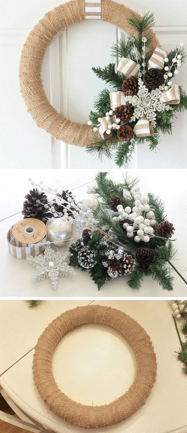 Burlap Christmas Wreath. Gracing your front door in style with this neat and beauty burlap wreath. Easy and inexpensave to make with only a few supplies at home.