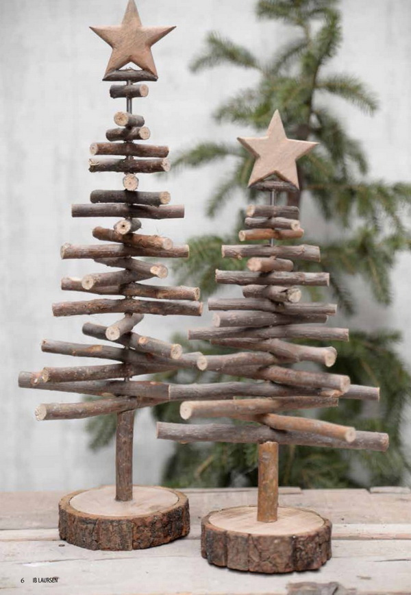 Small Twig Christmas Trees. Make your own Christmas trees with twigs, for less than $5!