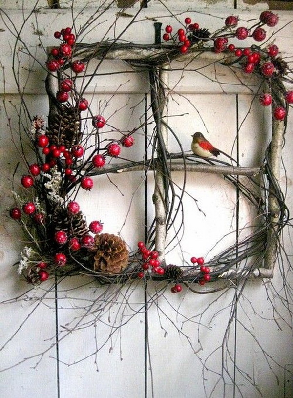 Christmas Door Wreaths. Make this lovely winter wreath with twigs, pine cone and redberries for your door decoration this Christmas season.