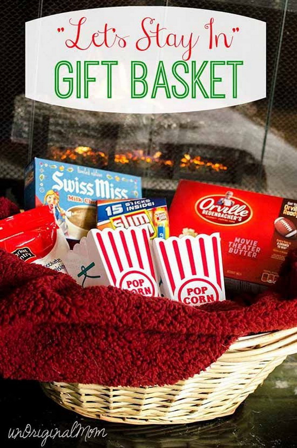 """Let's Stay In"" Gift Basket with Personalized Popcorn Tubs."