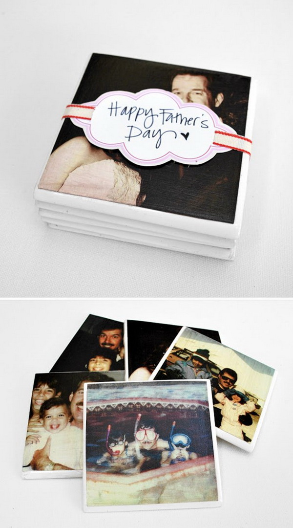 Father's Day DIY Photo Coasters. Surprise your dad  with these DIY personalized coasters this Father's Day.