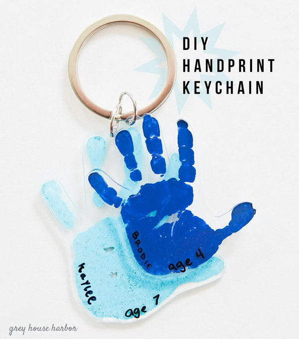 DIY Handprint Keychain. Created the most adorable and sweet DIY handprint keychain to give to your dad this year.