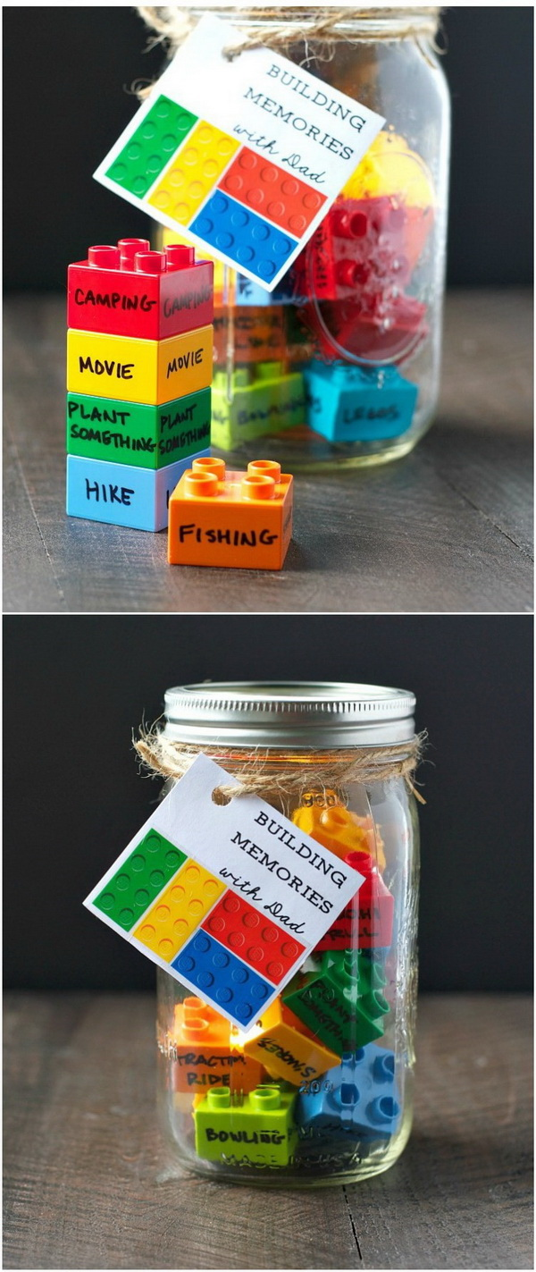 DIY Father's Day Gift: Building Memories with Dad. Use the LEGO pieces to record a list of the favorite activities that you have done with Dad. Then collect them in a mason jar and tagged with a label. This makes an easy DIY Father's Day Gift that will build memories to last a lifetime!