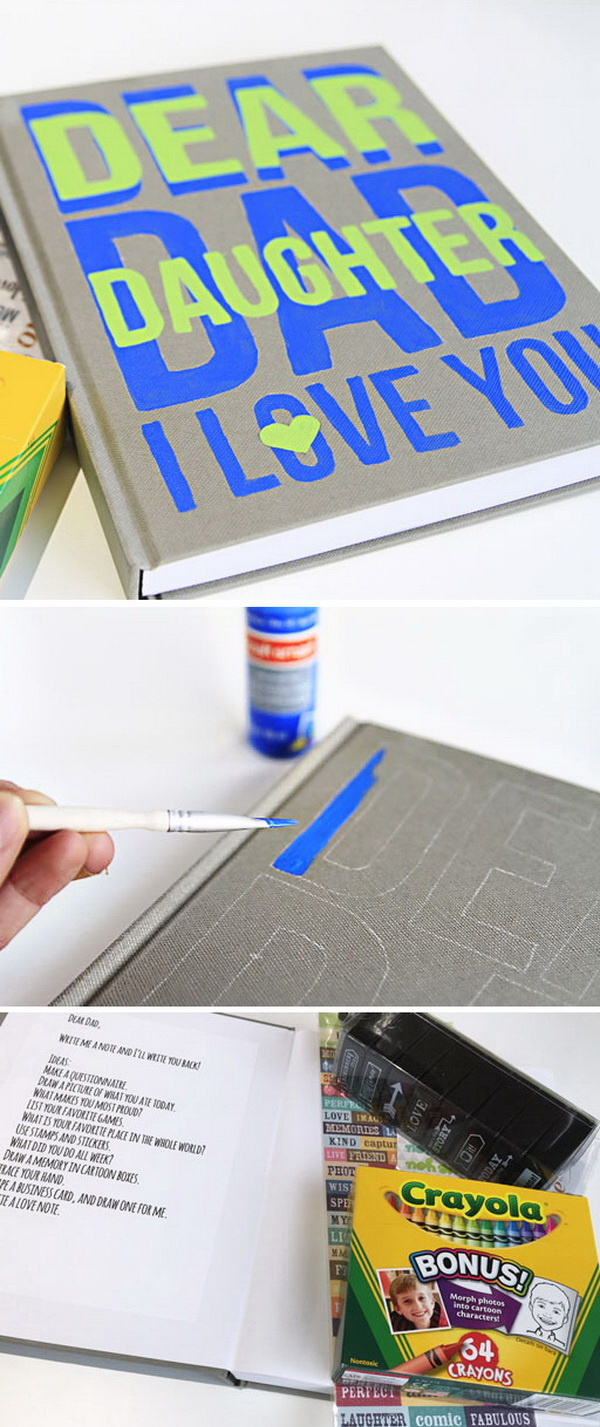 DIY Father Child Journal. A DIY father's day gift that will last for years: a father child journal to send messages back and forth and also a fun way for child and father to bond.