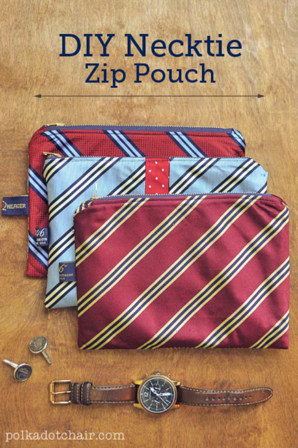 DIY Necktie Zip Pouch. Turn the old ties into these DIY Necktie Zip Pouches. A very very simple sewing project that would make a great Christmas DIY gifts for men .