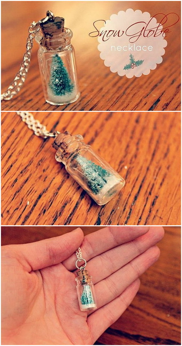 DIY Snow Globe Necklace. Snowglobe necklace makes an adorable and easy handmade Christmas gifts and stocking stuffers!