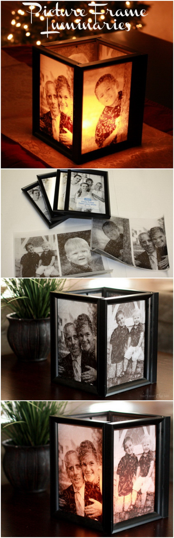 Picture Frame Luminaries. These Picture Frame Luminaries make the wonderful and meaningful handmade gifts, keepsake for holiday!