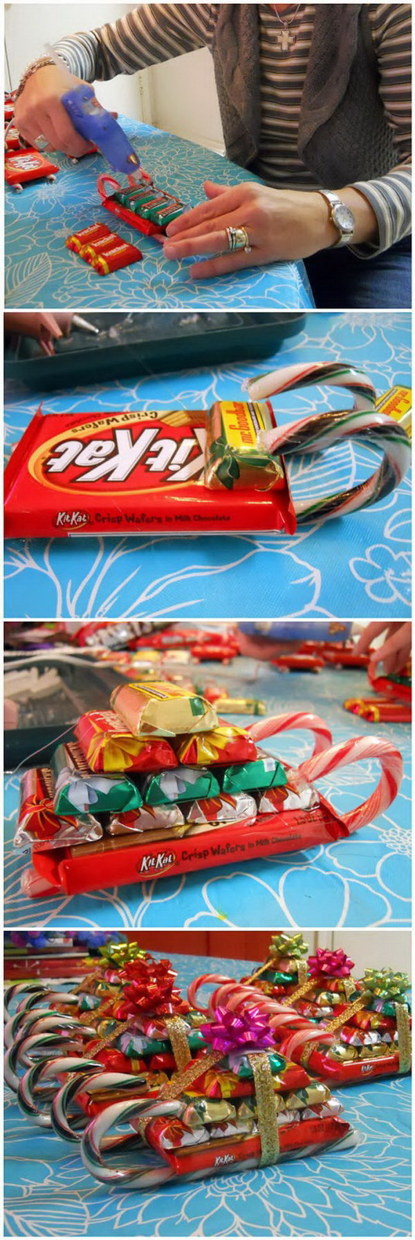Homemade Candy Sleighs. This Christmas candy cane sleigh is so festive, easy to make and will be the perfect gifts for that special teacher, babysitter, friend, or neighbor this Christmas.