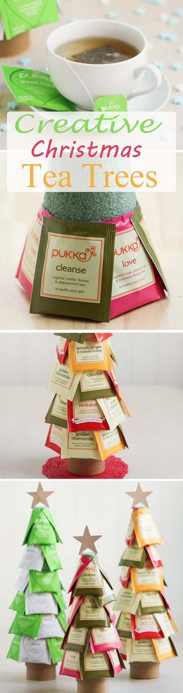 Creative Christmas Tea Trees. This Christmas tee tree makes a super sweet and easy handmade gift idea for those tea lovers in your life.