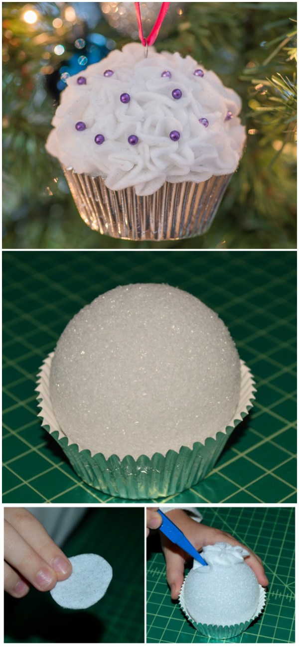 DIY Foam Ball Cupcake Ornaments. These faux cupcake ornaments made with foam balls are so easy to make and so very cute and adorable on your tree.