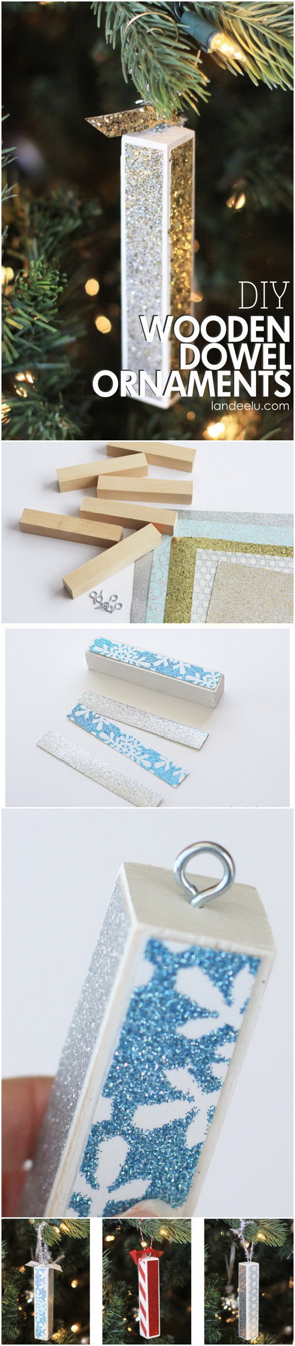 Wood Dowel DIY Christmas Tree Ornaments. These wood dowel ornaments are super easy & cheap to make. What you need are some wood dowels, some pieces of pretty, festive assorted scrapbook paper and paint.