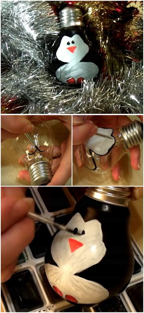 Penguin Light Bulbs. Transfer the simple and clear light bulbs into these adorable penguin ornaments for your holiday decor with some paints!