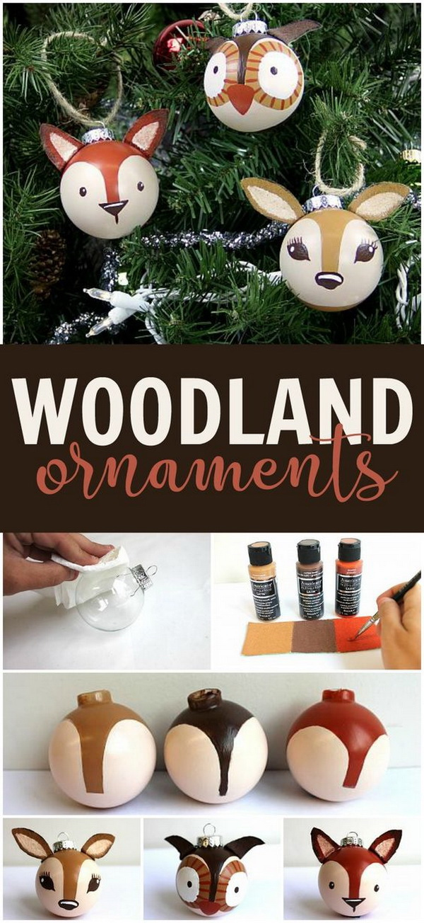 3D Painted Woodland Ornaments.