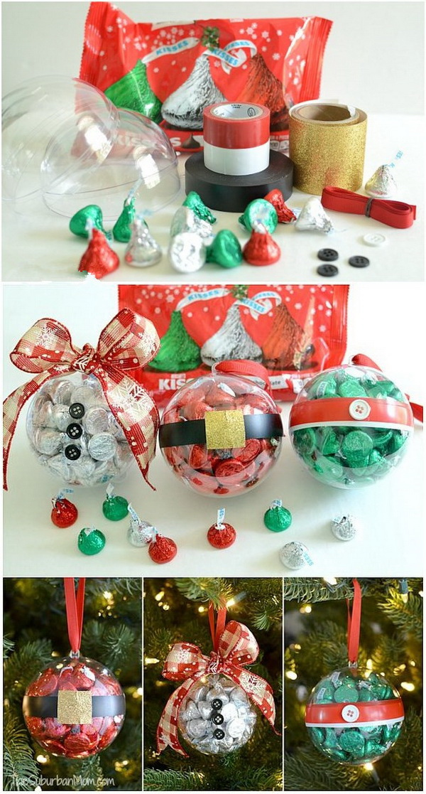 DIY Christmas Ornaments With Hershey's Kisses Chocolates. Simply fill the clear Christmas ornaments with some sweet kisses chocolates. Great small Christmas gift idea for teachers, neighbors and friends.