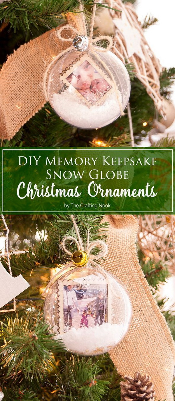 DIY Memory Keepsake Snow Globe Christmas Ornaments. A creative way to include important moments of your family life to your holiday decor with these cute memory keepsake snow globe Christmas ornaments.