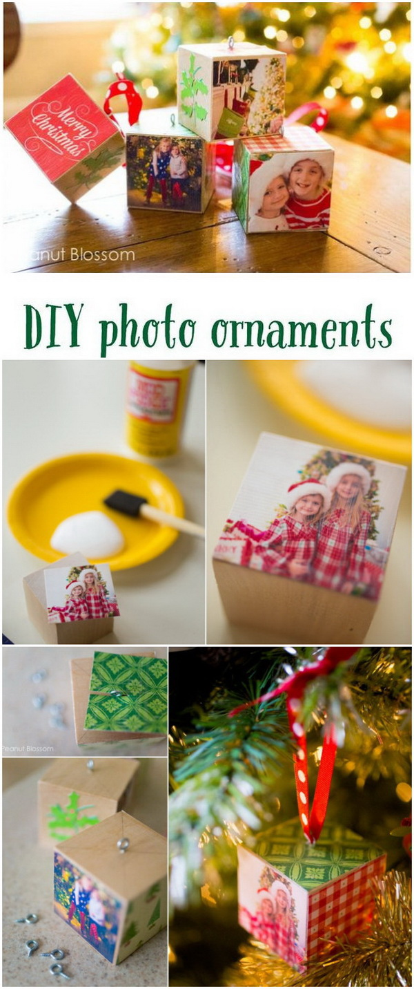 Adorable DIY Photo Ornaments. Give your Christmas tree a heartfelt touch of homemade with these fun and adorable DIY photo ornaments.