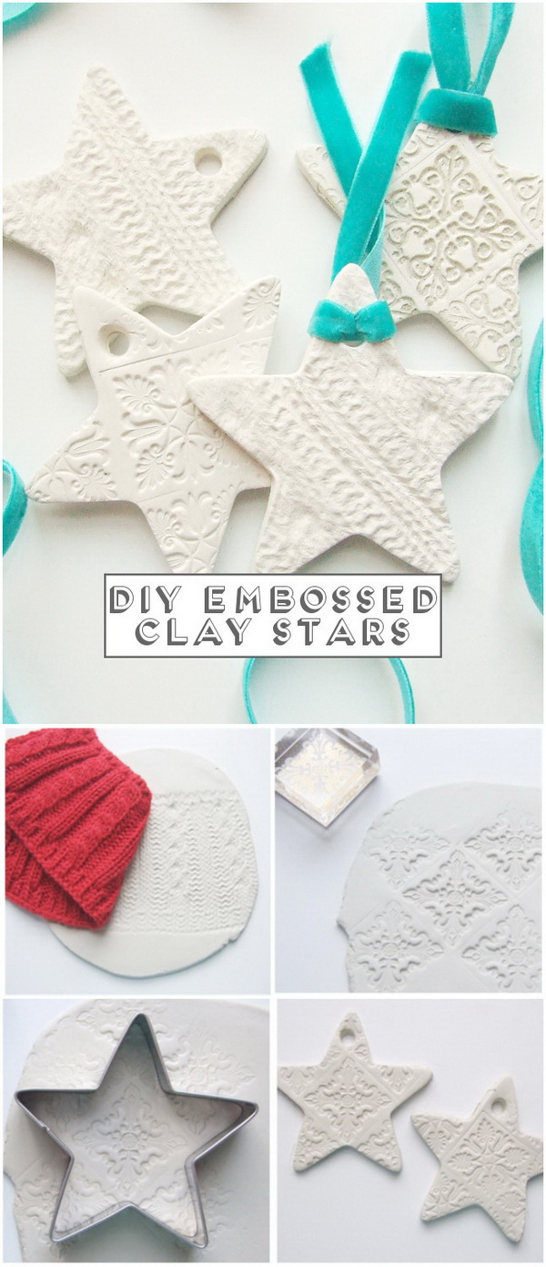 Embossed Clay Star Ornaments. Create attractive DIY embossed clay ornaments to spruce your holiday decor or used as holiday gifts for your kids.