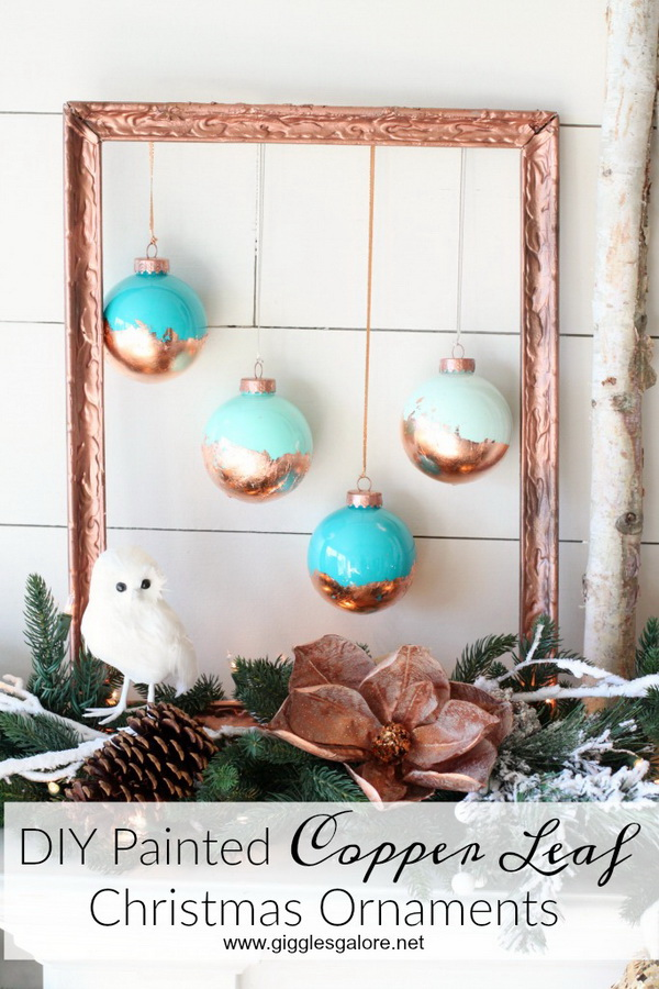 DIY Painted Copper Leaf Christmas Ornaments 45