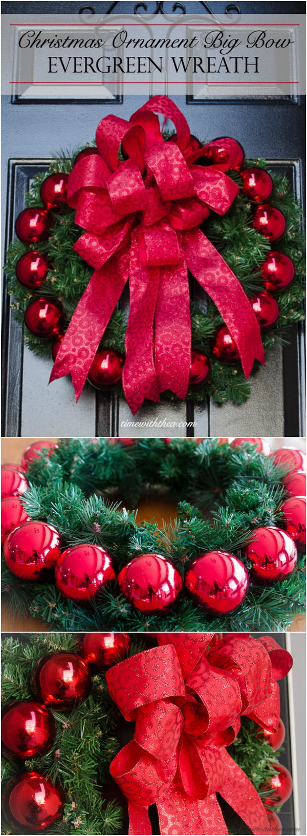 Evergreen Christmas Ornament Wreath with Big Bow.