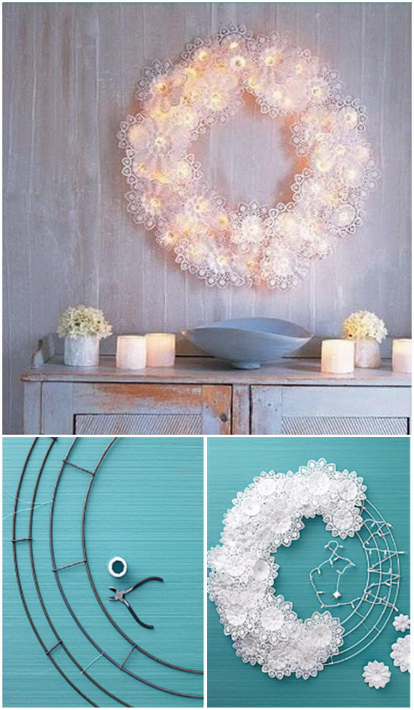 DIY Paper Doily Fairy Light Wreath.