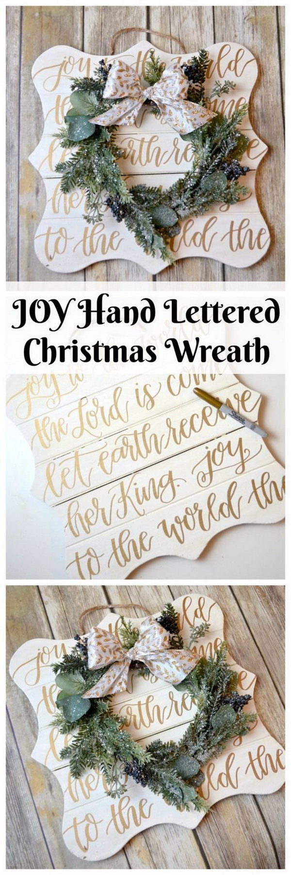 JOY Hand Lettered Christmas Wreath.