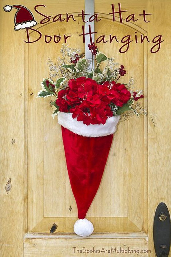 DIY Santa Hat Door Hanging.