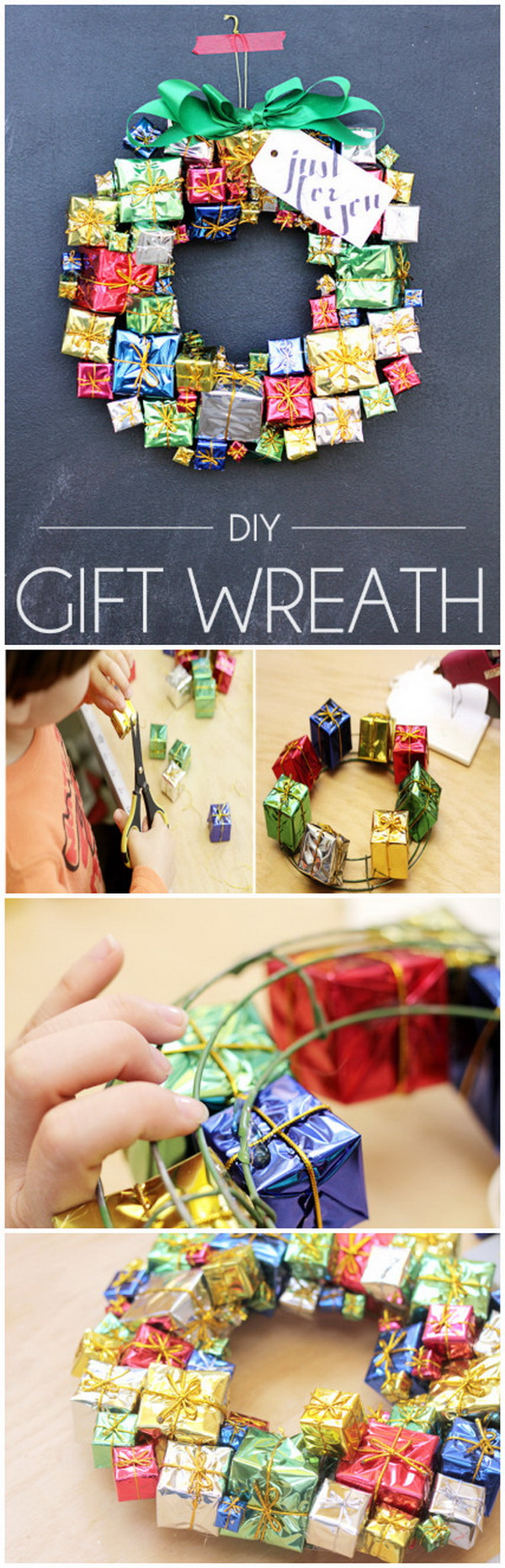 DIY Gift Box Christmas Wreath.