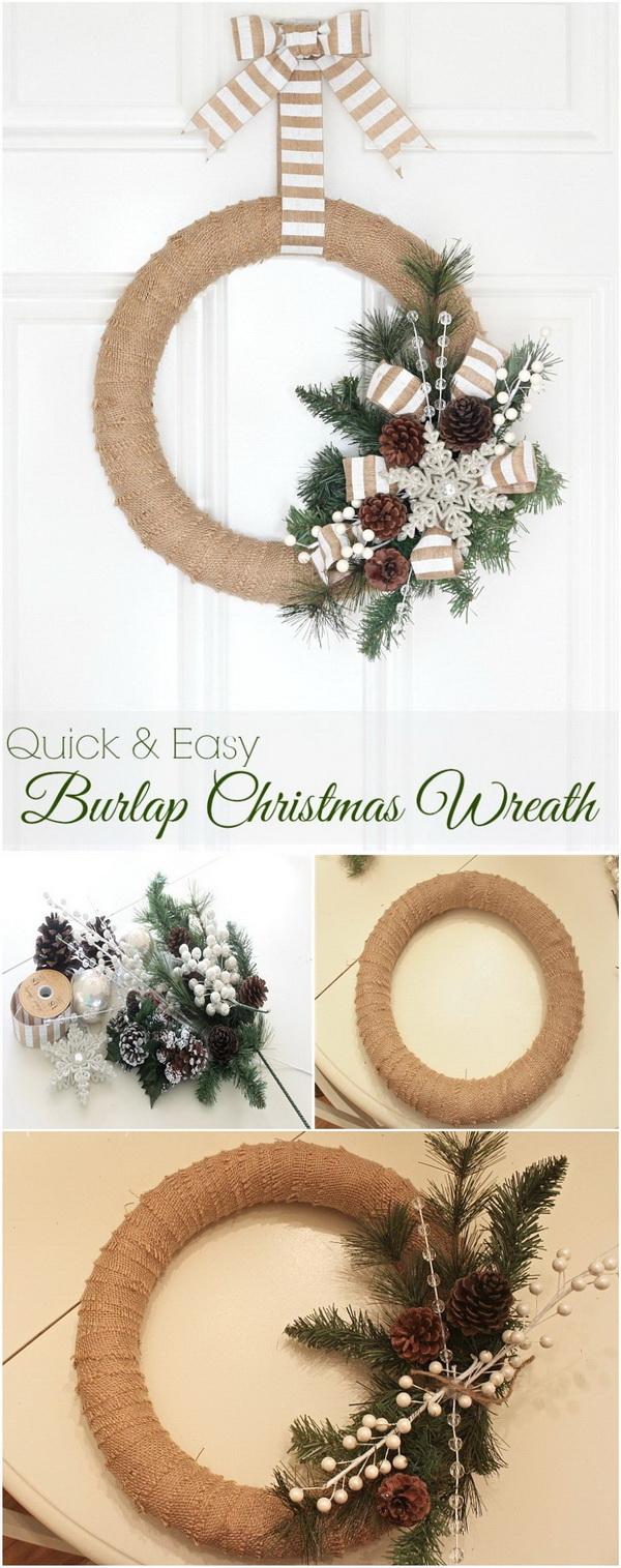 Burlap Christmas Wreath.